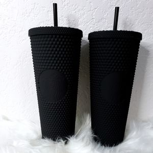 2x RARE Starbucks Matte Black Studded
